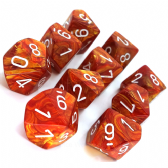 Bronze & White Lustrous D10 Ten Sided Dice Set